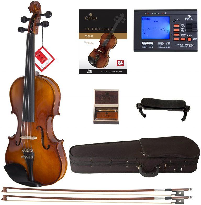 Cecilio CVN 300 Solidwood Ebony Fitted Violin with DAddario Prelude Strings
