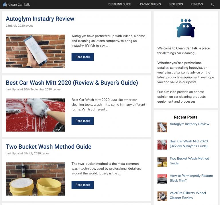 Clean Car Talk homepage