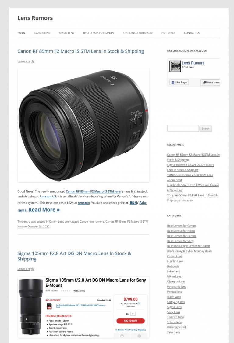 Lens Rumors homepage