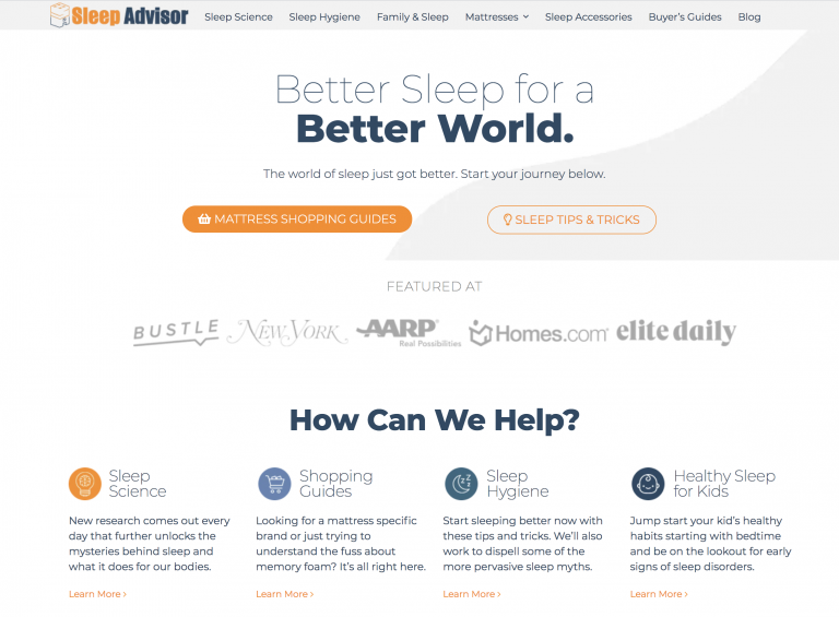 Sleep Advisor homepage