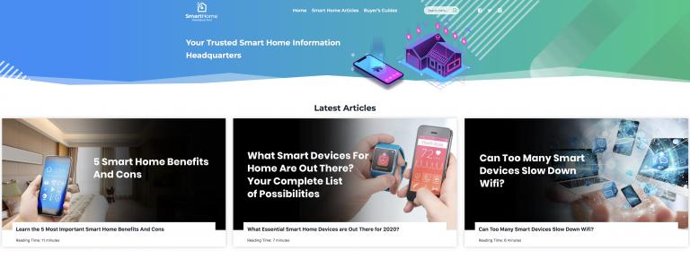 Smarthome Headquarters homepage