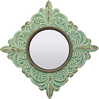 Antique Green Ceramic Wall Mirror