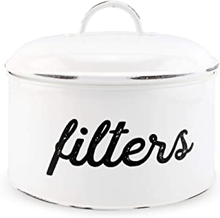 AuldHome Basket Coffee Filter Holder White Enamel Filter Storage Container in Rustic Farmhouse Distressed Enamelware Design