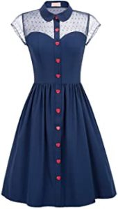 Belle Poque Womens 1950s Polka Dots Vintage Swing Dress