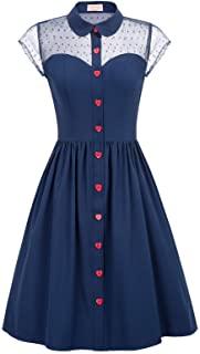 Belle Poque Womens 1950s Polka Dots Vintage Swing Dress