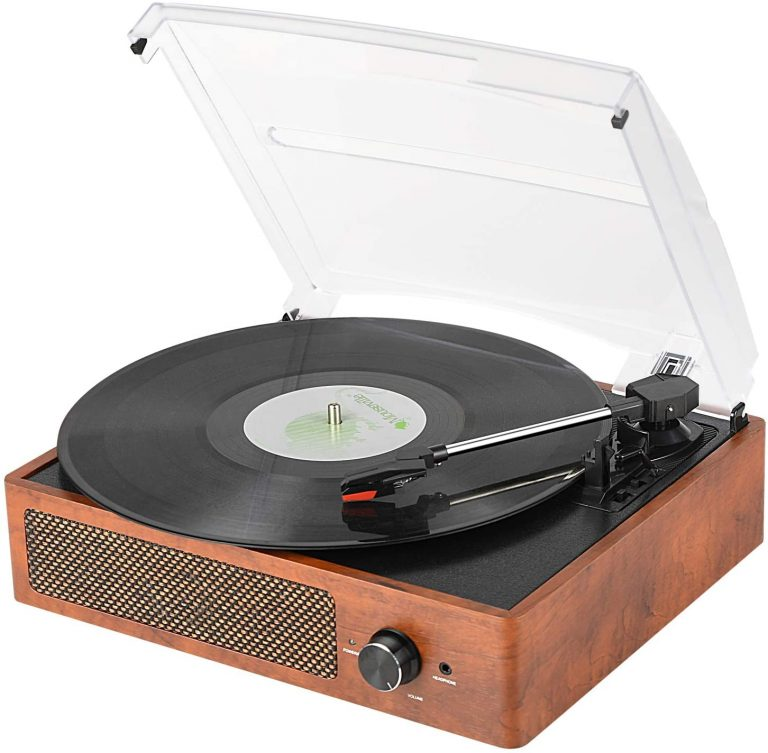 Bluetooth Record Player Belt Driven 3 Speed Turntable Vintage Vinyl Record Player