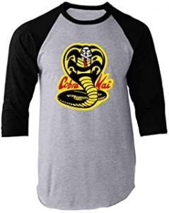 Cobra Kai Karate Kid Merchandise Retro No Mercy Raglan Baseball Tee Shirt