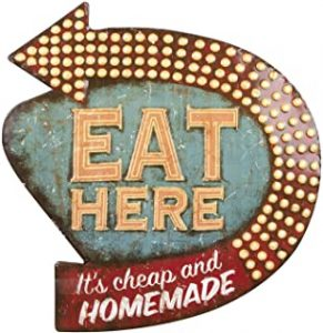 Creative Co op Eat Here Tin Retro Wall Decor