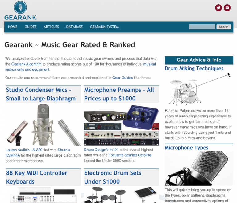 Gearank home page