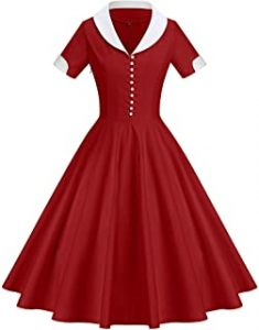 GownTown Womens 1950s Cape Collar Vintage Swing Stretchy Dress