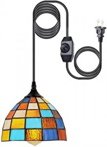 HMVPL Tiffany Style Pendent Ceiling Light with 16.4 Ft Plug in Cord and OnOff Dimmer Switch Retro Multicolored Swag Hanging Lamp