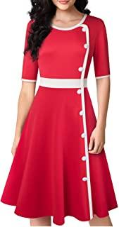 HOMEYEE Womens 1950s Retro Rockabilly Party Flare Swing Dress A228