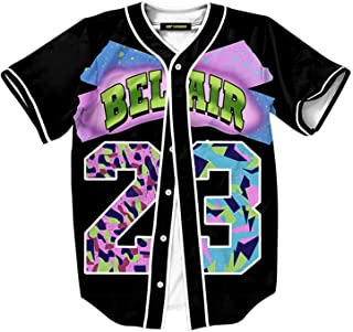 HOP FASHION Unisex 90s Theme Party Bel Air Baseball Jersey