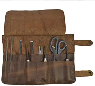 Hide Drink Leather Snap Tool Roll Up Bag
