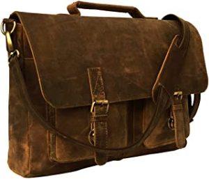KKs 16 Inch Retro Buffalo Hunter Leather Laptop Briefcase Bag