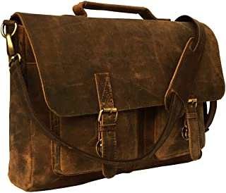 KKs 16 Inch Retro Buffalo Hunter Leather Laptop Briefcase Bag