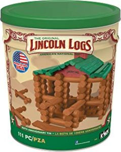 LINCOLN LOGS –100th Anniversary Tin 111 Pieces Real Wood Logs Ages 3 Best Retro Building Gift Set for BoysGirls