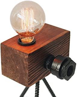 Looxury Real Wood Table Lamp Industrial Edison Bulb