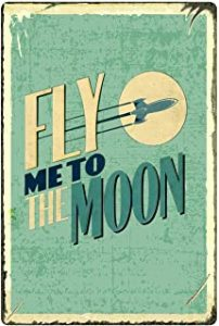 MUATOO Tin Sign Fly Me to The Moon Metal Retro Wall Decor