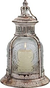 Rustic Antique White Metal Candle Lantern