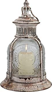Rustic Antique White Metal Candle Lantern