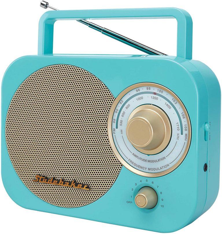 Studebaker SB2000TG TurquoiseGold Retro Classic Portable AMFM Radio