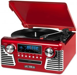 Victrola 50s Retro Bluetooth Record Player Multimedia Center with Built in Speakers