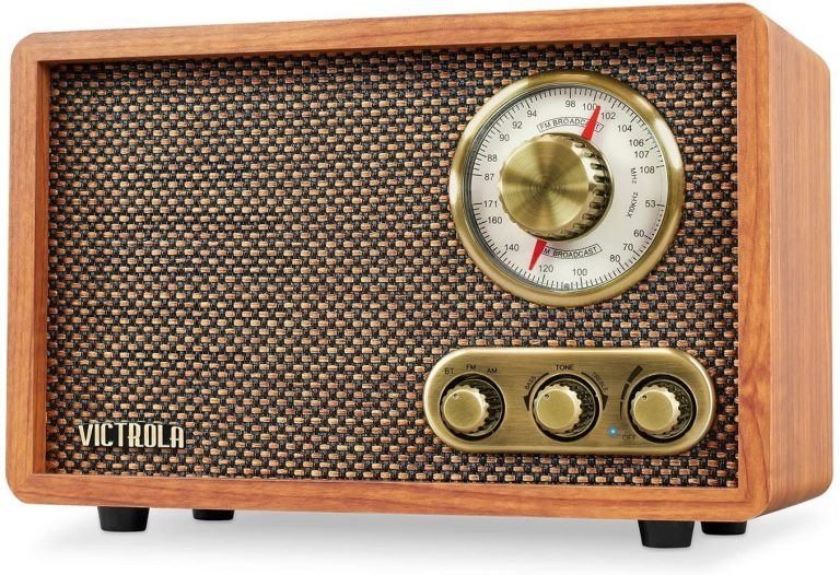Victrola Retro Wood Bluetooth FMAM Radio with Rotary Dial