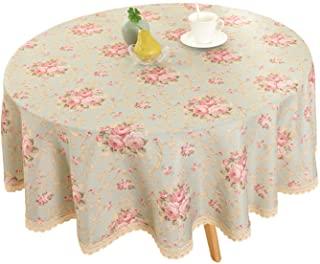 Vintage Flower Decorative Round Linen Tablecloth