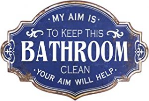 Vintage Metal Bathroom Wall Sign