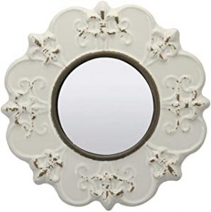 White Round Antique Ceramic Wall Mirror