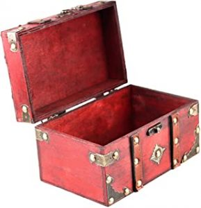 Wooden Vintage Treasure Chest Trinket Box