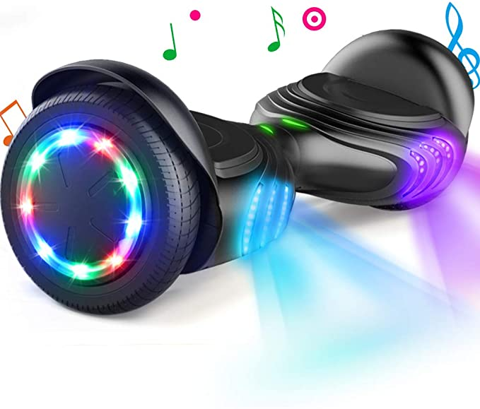 TOMOLOO Hoverboard with Bluetooth Speaker and LED Lights